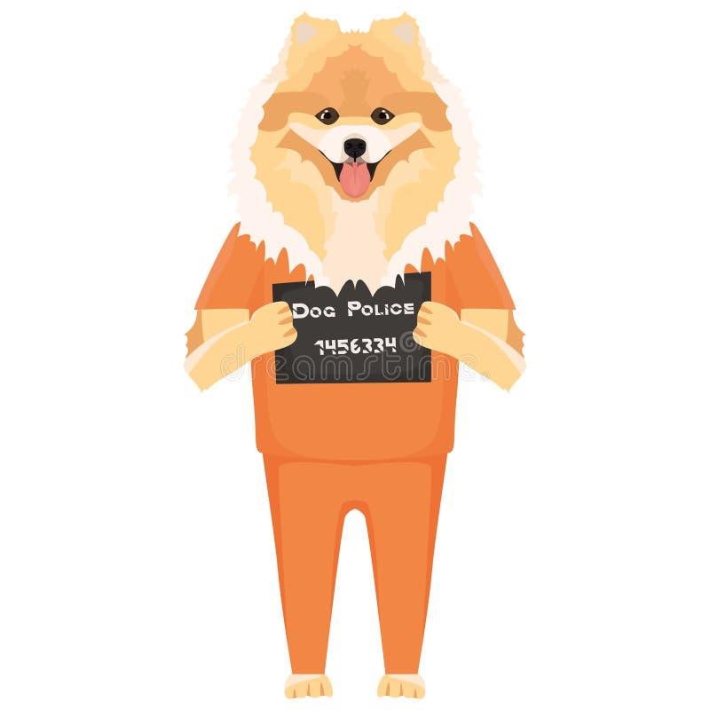 Chow-chow del perro de la ropa de la prisi?n del Mugshot libre illustration