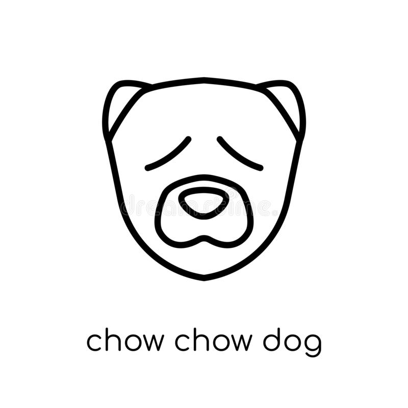 Chow Chow-hondpictogram In modern vlak lineair vectorchow chow D vector illustratie