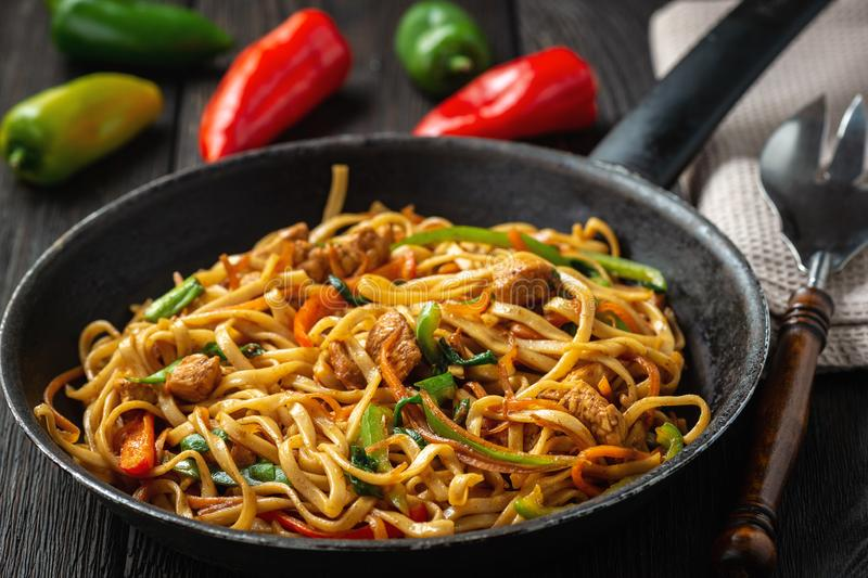 Chow mein with chicken, Chinese dish. stock photography