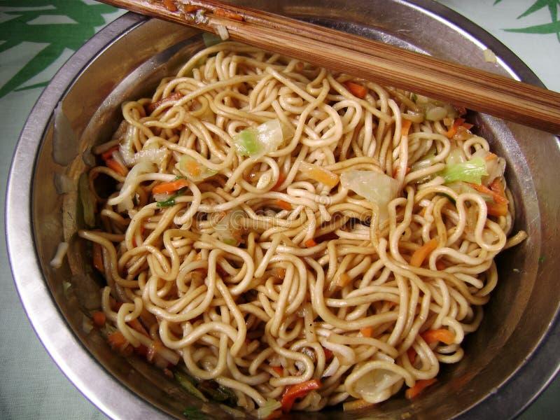 Chow Mein met eetstokje royalty-vrije stock foto