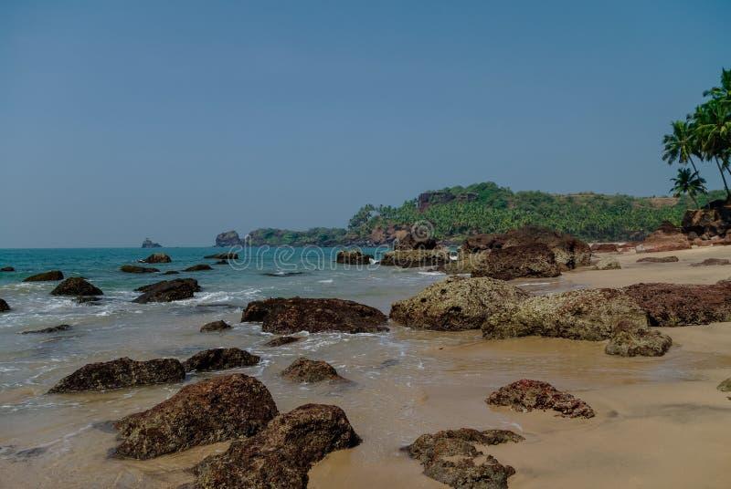 Chowana piasek plaża z palmami blisko Agonda plaży, Goa stan, India zdjęcie royalty free
