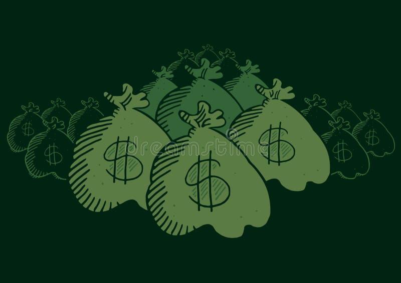 Chowane pieniądze torby ilustracja wektor