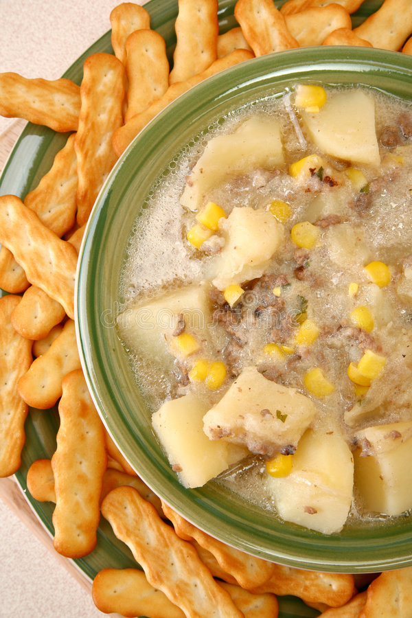 Chowder and Crackers royalty free stock image