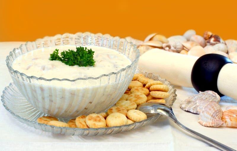 Chowder de almeja y Seashells imagen de archivo libre de regalías