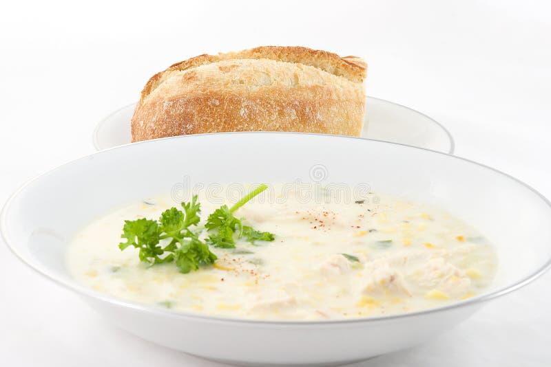 Chowder e pão de milho fotografia de stock