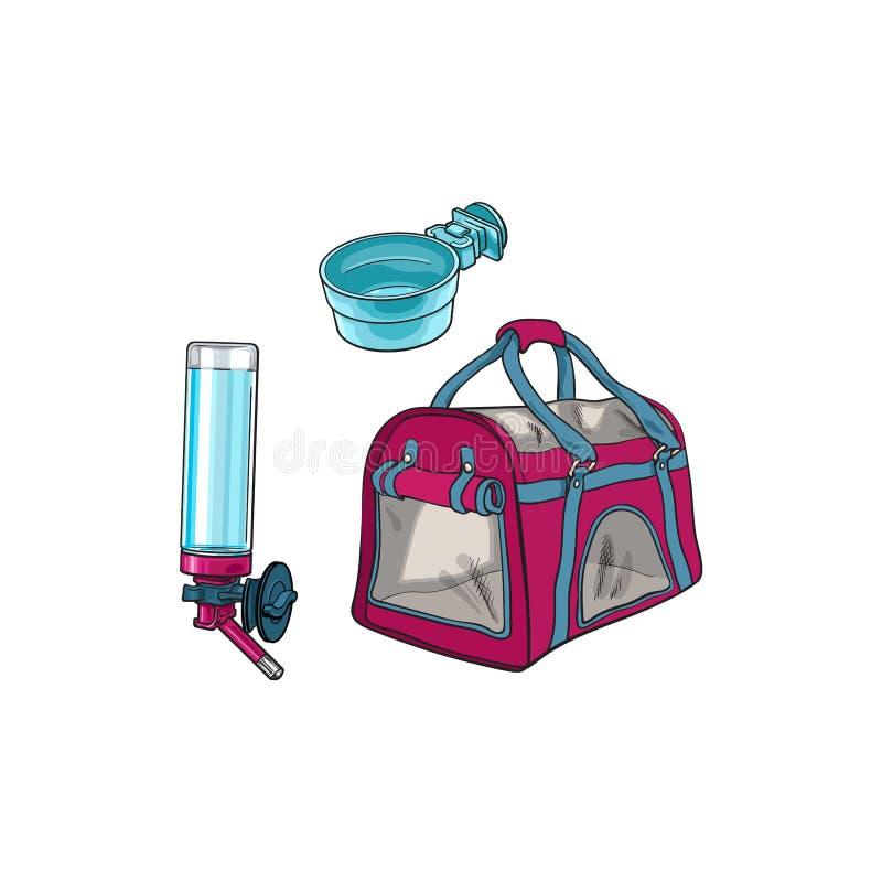 Choyez le sac de transporteur de voyage, la cuvette de alimentation et le buveur rechargeable illustration de vecteur