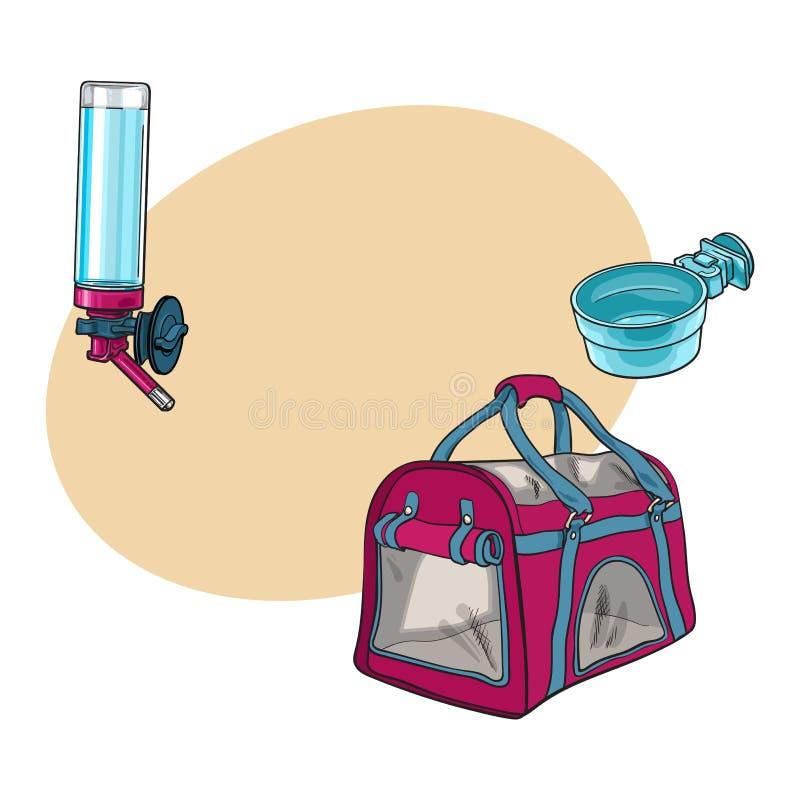 Choyez le sac de transporteur de voyage, la cuvette de alimentation et le buveur rechargeable illustration stock
