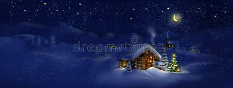 Choza, árbol de navidad con las luces, paisaje del panorama stock de ilustración
