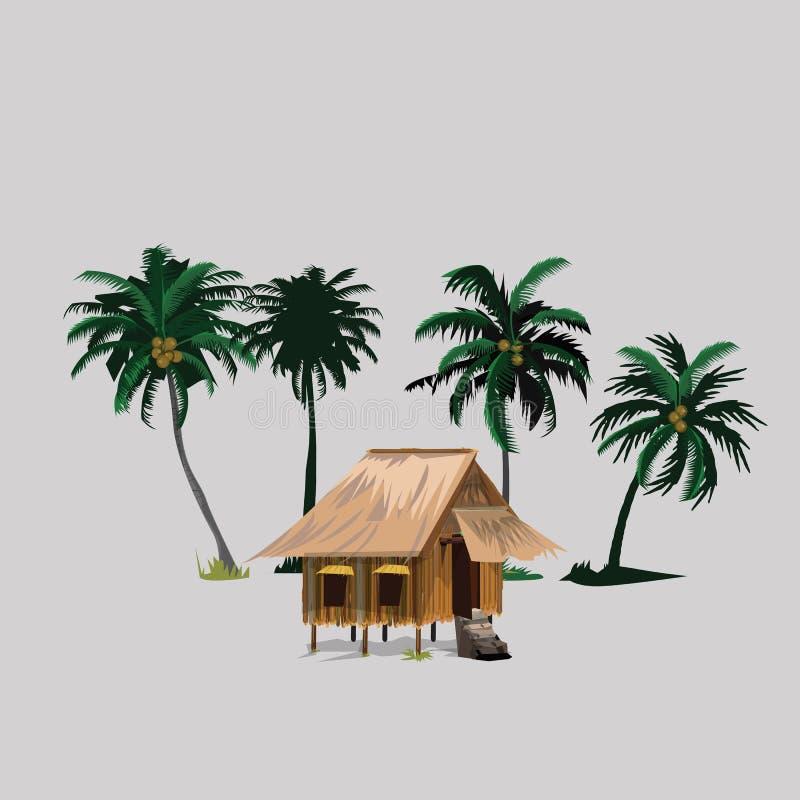 Choza con los árboles de coco en campo asiático stock de ilustración