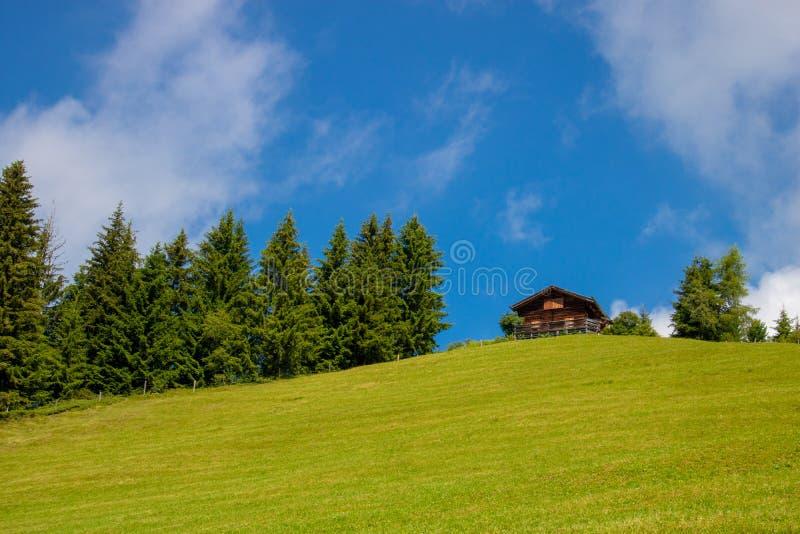 Choza de madera vieja en el top de una montaña y de un prado verde imagenes de archivo