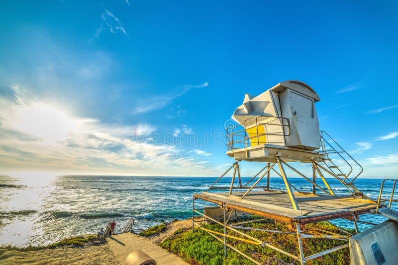 Choza del salvavidas en la playa de La Jolla en San Diego foto de archivo libre de regalías