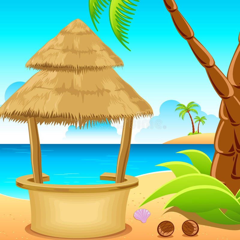 Choza en la playa ilustración del vector