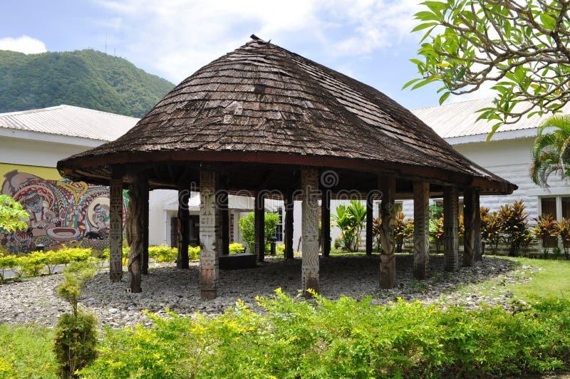 Choza samoana tradicional Pago admitido foto Pago, American Samoa foto de archivo