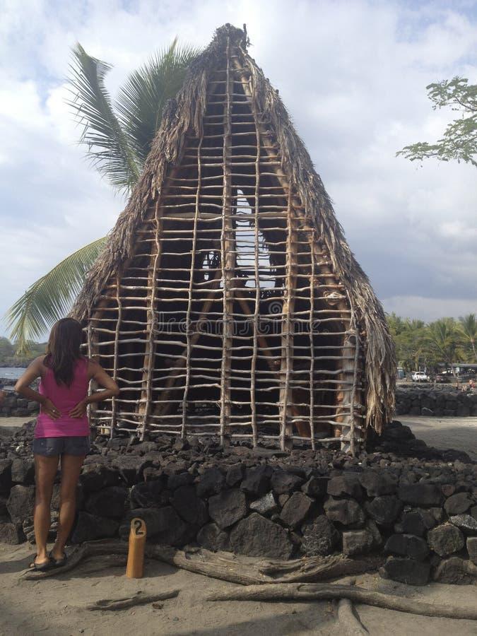 Choza situada dentro de los argumentos o del Haonaunau reales en Hawaii, los E.E.U.U. fotos de archivo