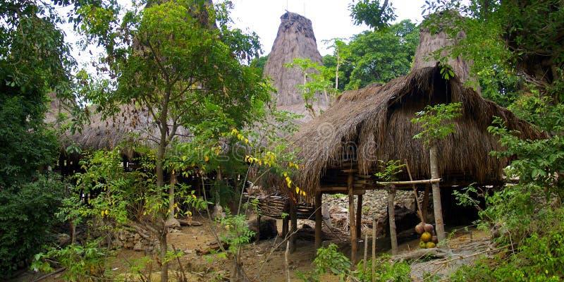 Choza tradicional del habitante en la isla del sumba imágenes de archivo libres de regalías
