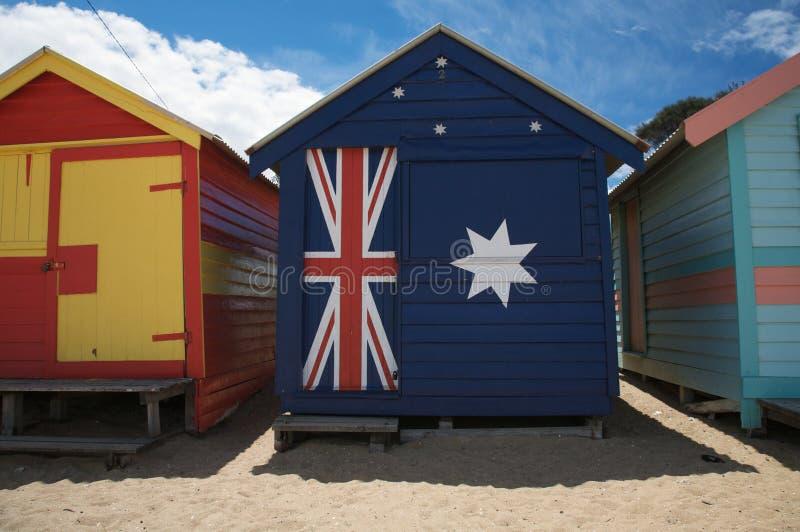 Chozas coloridas de la playa en Australia imagen de archivo