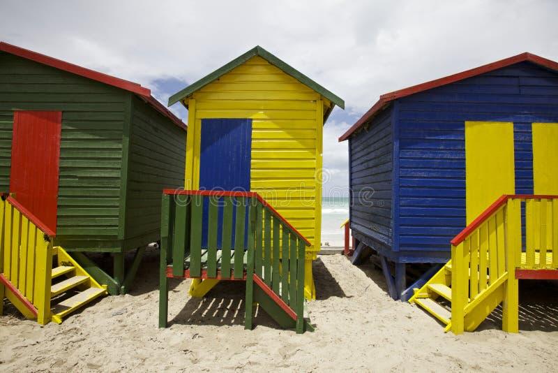 Chozas de la playa fotos de archivo