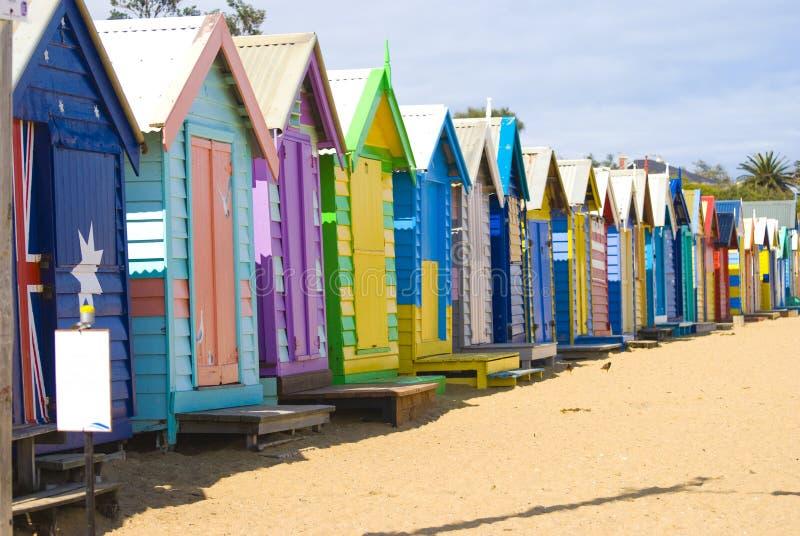 Chozas de la playa de Brighton fotos de archivo