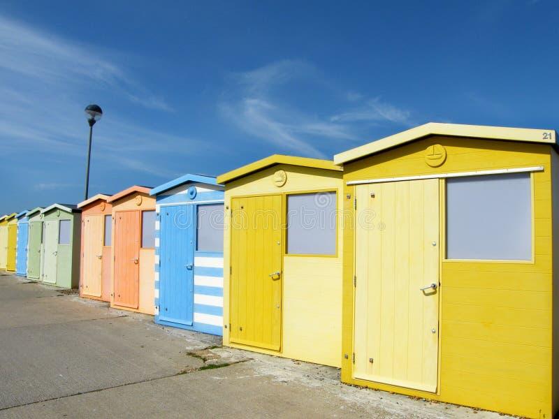Chozas de la playa de Seaford fotos de archivo libres de regalías