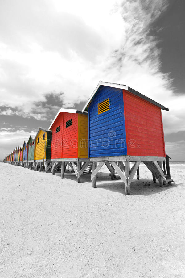Chozas de la playa en Ciudad del Cabo imagen de archivo libre de regalías