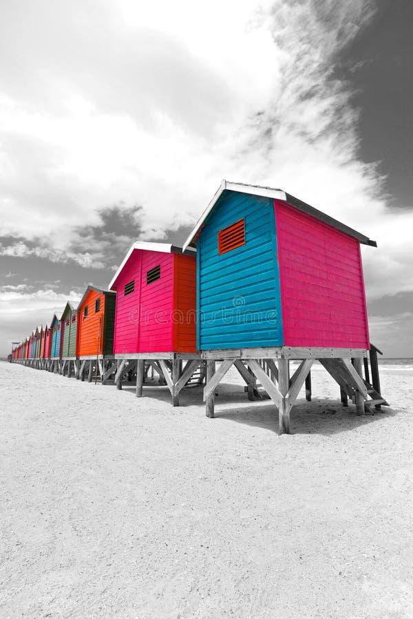 Chozas de la playa en Ciudad del Cabo foto de archivo libre de regalías