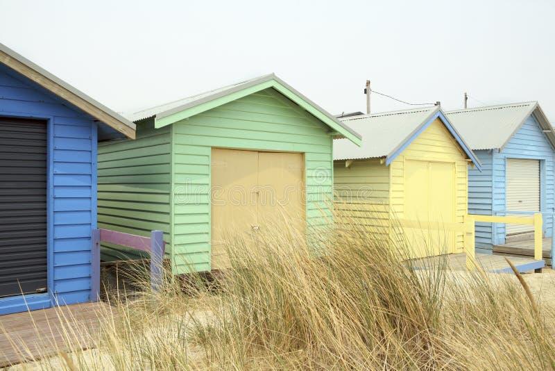 Chozas de la playa en Melbourne, Australia fotos de archivo