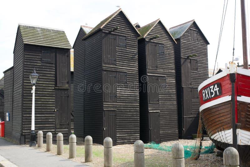 Chozas de madera negras del pescador en Hastings, Inglaterra imágenes de archivo libres de regalías