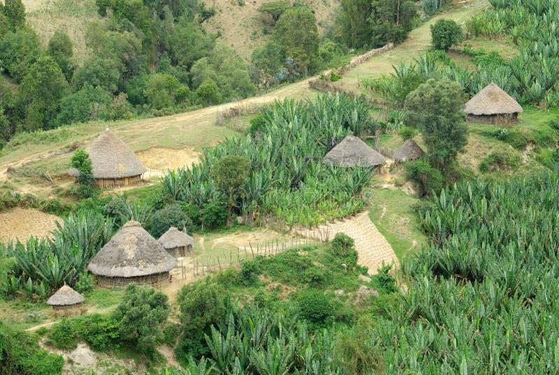 Chozas etíopes fotografía de archivo