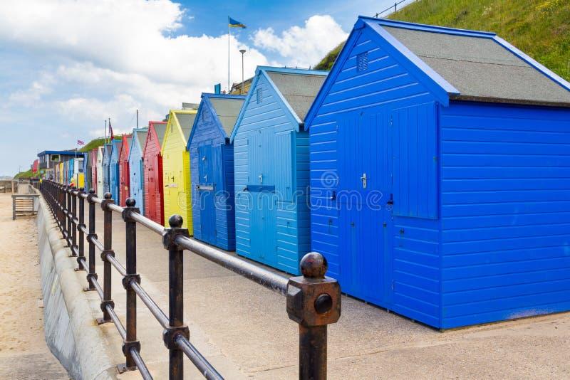 Chozas Norfolk Inglaterra de la playa de Mundesley fotos de archivo libres de regalías