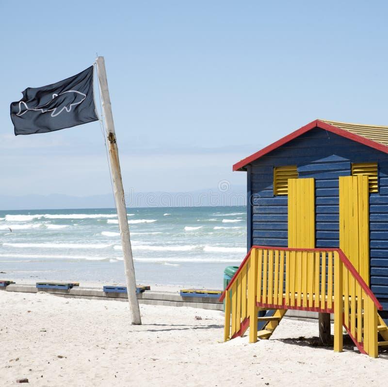 Chozas Suráfrica de la bandera y de la playa de los posts del puesto de observación del tiburón fotografía de archivo