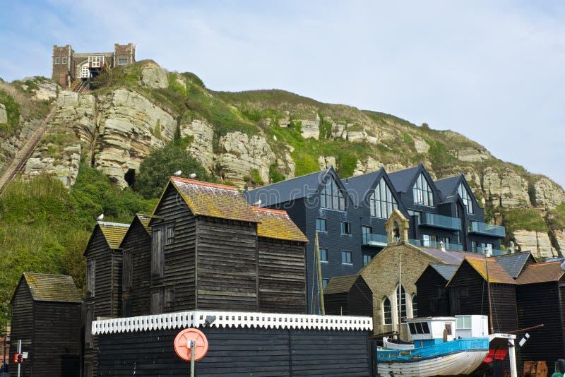 Chozas y hogares del pescador en Hastings, Inglaterra imagen de archivo libre de regalías