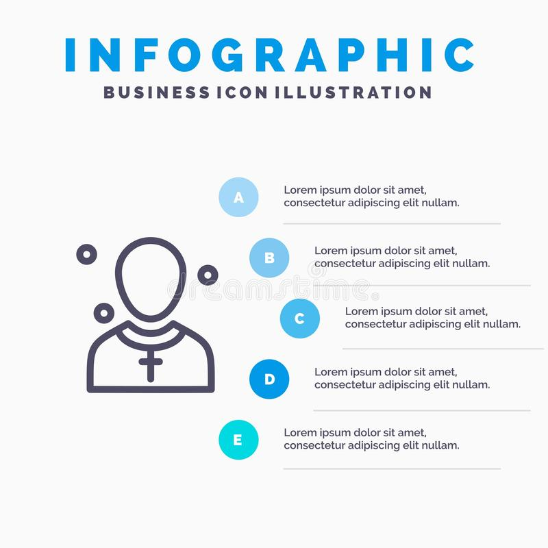 Chrétien, église, mâle, homme, ligne icône de prédicateur avec le fond d'infographics de présentation de 5 étapes illustration stock