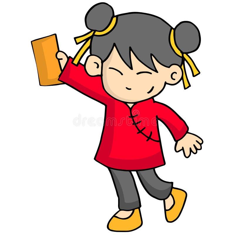 Chracter van meisje met envelop royalty-vrije illustratie