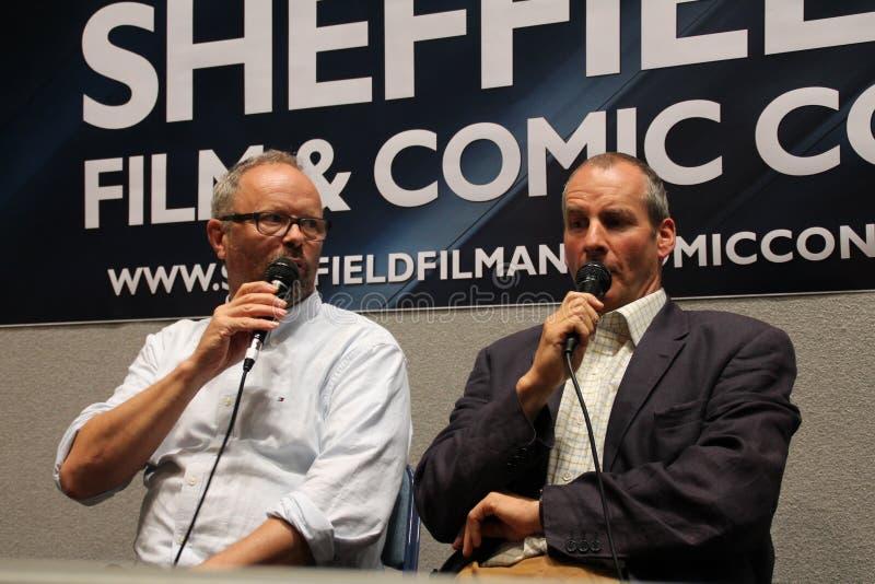Chris Barrie y Robert Llewellyn en Sheffield Film y la estafa cómica 2014 fotos de archivo libres de regalías