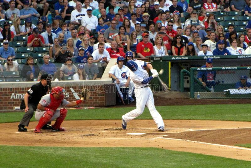 Chris Bryant Fouls One Off. Chicago Cubs upcoming star Chris Bryant Fouls off a pitch at Wrigley Field in CHicago on June 14, 2015 royalty free stock images