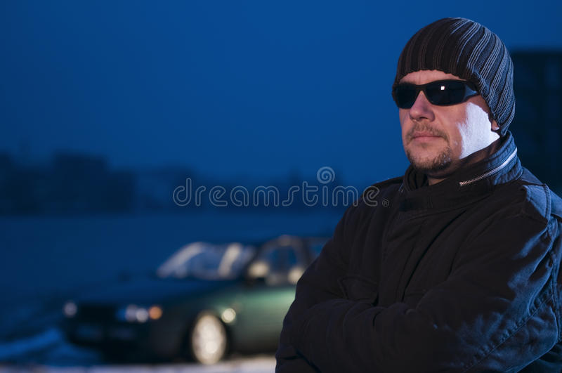 Download Chris with car stock photo. Image of puzzled, night, woolen - 25979502