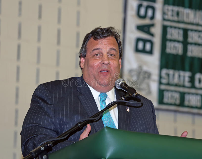 Chris Christie. A former Livingston High School senior class president and catcher on the 1980 state champion baseball team returns to his alma mater as the royalty free stock photography