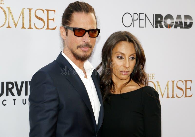 Chris Cornell en Vicky Karayiannis royalty-vrije stock foto's