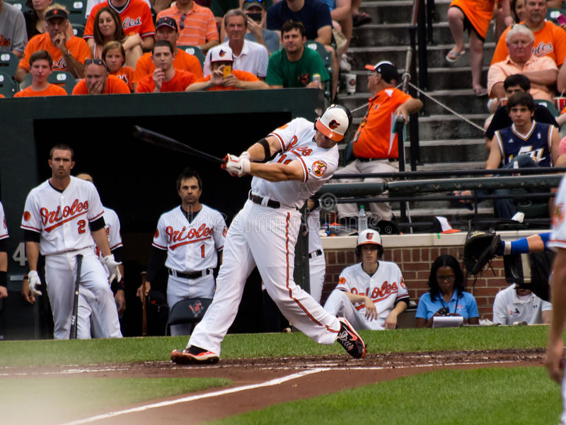 Chris Davis Hits a Home Run!. Chris Crush Davis hits home run #34 of the season on 7-11-2013. The Baltimore Orioles took the lead after this solo shot against royalty free stock images