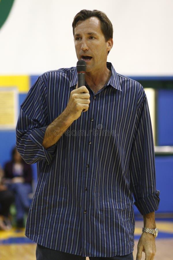 Chris Dudley giving a speech