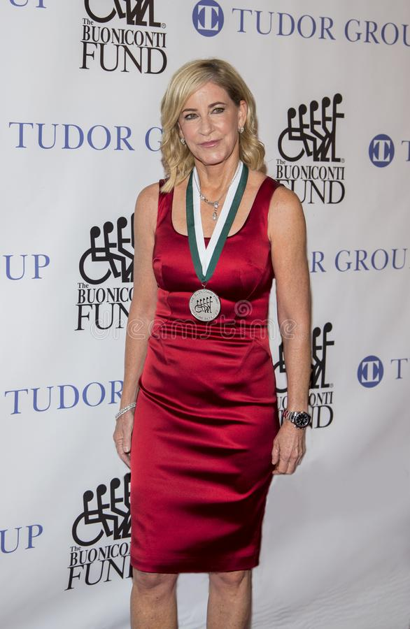 Chris Evert. Retired tennis icon and grand slam champion, Chris Evert, now a tv tennis match commentator, attends the 33rd Annual Great Sports Legends Dinner, at stock images