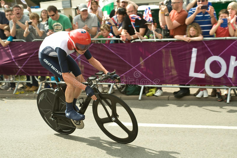 Chris Froome in the Olympic Time Trial. British Cyclist Chris Froome on the road in Surrey in the London 2012 Olympic Cycling Time Trial stock image