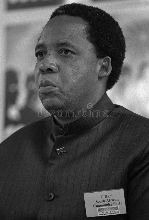Chris Hani. SOUTH AFRICA Johannesburg -- 21 Dec 1991 -- SACP ( South African Communist Party ) politican Chris Hani at the CODESA meeting at Kempton Park in royalty free stock photo