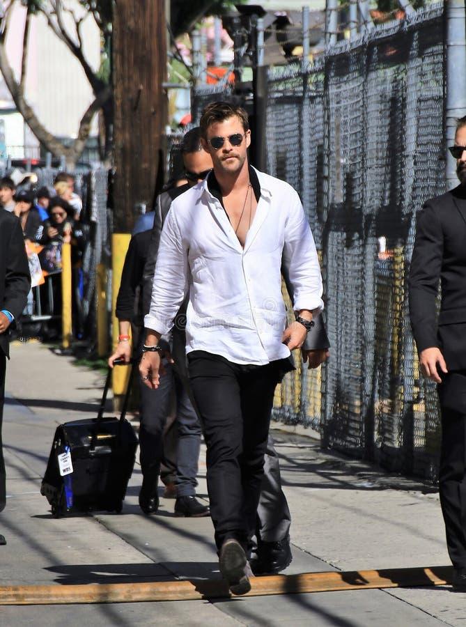 Chris Hemsworth bij Kimmel-studio royalty-vrije stock afbeelding