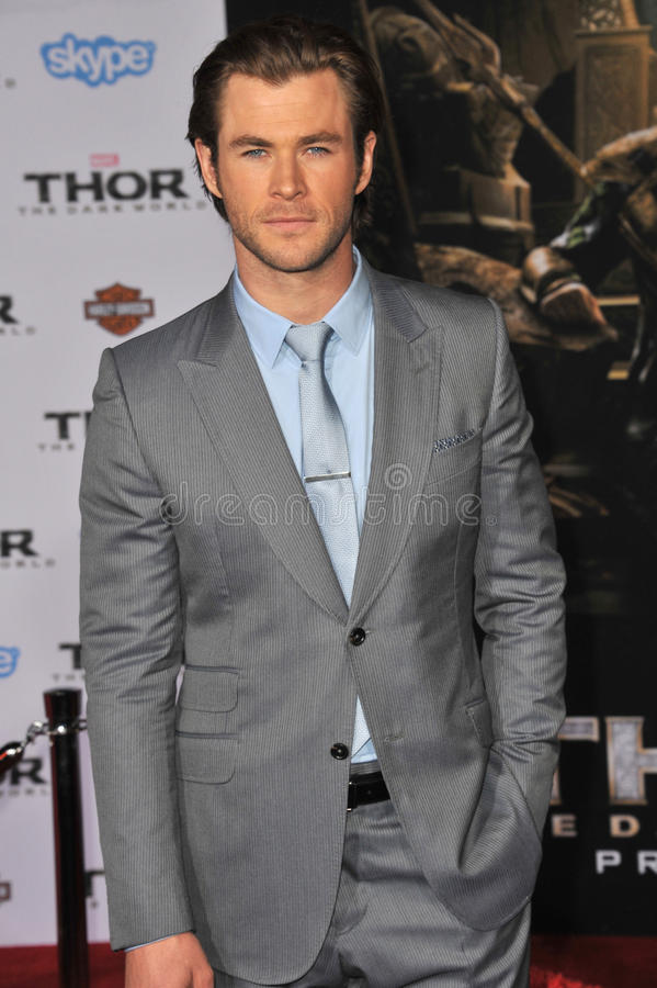 Chris Hemsworth. LOS ANGELES, CA - NOVEMBER 4, 2013: Chris Hemsworth at the US premiere of his movie Thor: The Dark World at the El Capitan Theatre, Hollywood royalty free stock photos