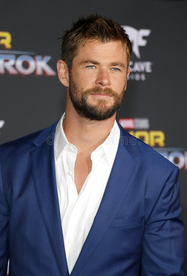 Chris Hemsworth. At the World premiere of `Thor: Ragnarok` held at the El Capitan Theatre in Hollywood, USA on October 10, 2017 stock images
