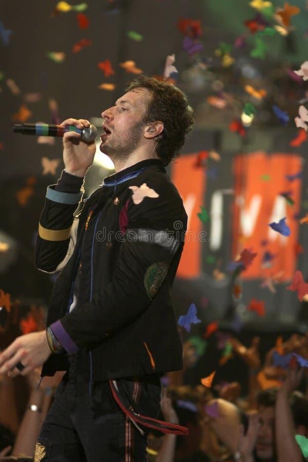 Chris Martin do grupo de rock Coldplay imagens de stock