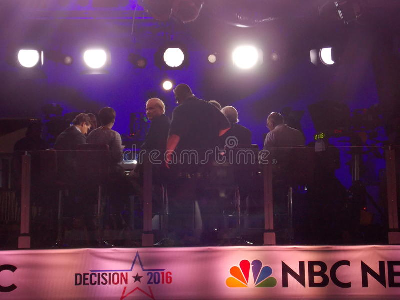Chris Matthews Films Live in Outdoor News Studio During DNC royalty free stock images