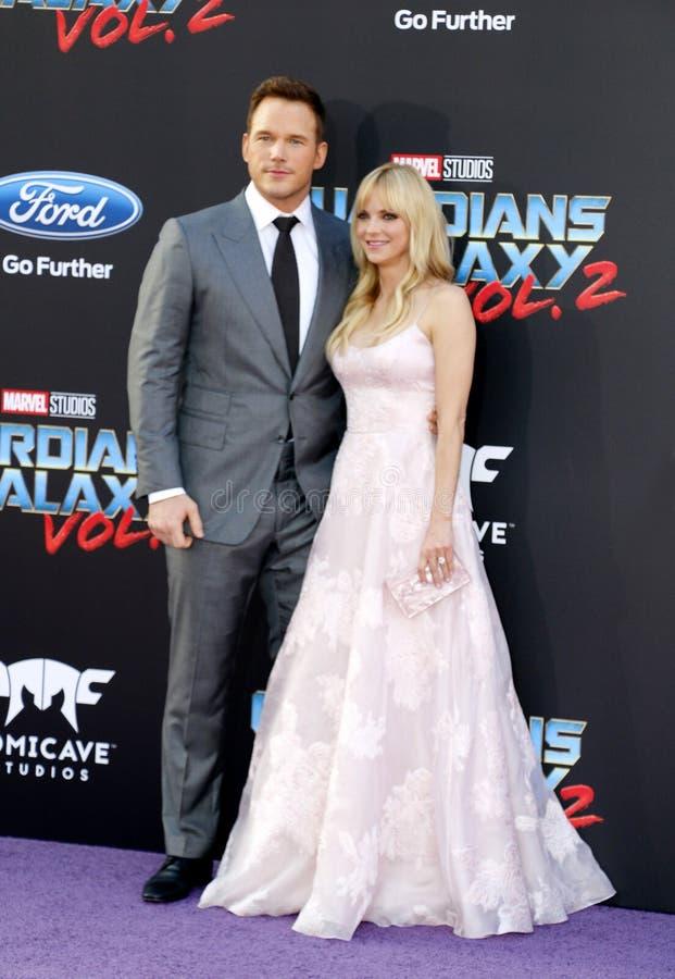 Chris Pratt en Anna Faris stock fotografie