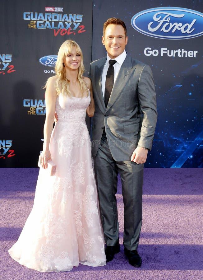Chris Pratt och Anna Faris royaltyfri bild